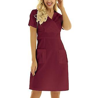 Frauen Hemd Kleid Krankenschwester Uniform Kurzarm V-Ausschnitt Solide Arbeitsuniform