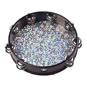 Tambourin radiant en bois de 8/10 pouces tambourin tambourin tambour à main tambour tambourin tambour à main tambour avec double rangées jingles brillant réfléchissant