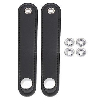 2Pcs 14x2.5cm pu leather black accordian straps for bass accordion