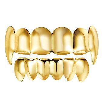 Nuobesty היפ הופ שיניים היפ הופ תכשיטים זהב שיניים גשרים סט התחתון מבריק שיניים (זהב)