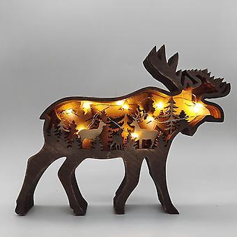 クリスマス木製工芸 クリエイティブ北米森林動物家の装飾エルクヒグマの装飾
