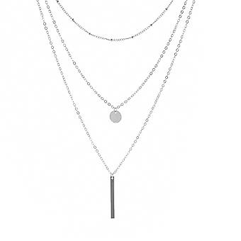 Multilayer Necklace 3 Tier Pendant Long Chain Women Accessories(silver)
