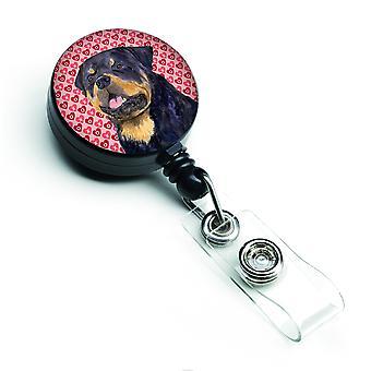 Carolines Schätze SS4524BR Rottweiler versenkbare Abzeichen Reel oder ID Holder wi