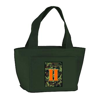Letter H Monogram - Camo Green Zippered Insulated School Washable and Stylish Lu