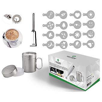 HLix CAFE - 20pcs Set with Portable Milk Frother / Cocktail Mixer / Egg Whisk Powerful Motor and Stand + 16pcs Assorted Coffee Cake Icing and Hot Chocolate Stencil Templates + Chocolate Icing Sugar Flour Stainless Steel Shaker With Air Tight Lid