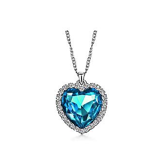 Womens Girls Sky Blue Titanic Heart of the Ocean Necklace