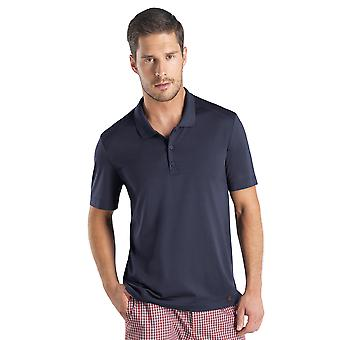 Hanro Night & Day Black Iris Cotton Mens Polo Shirt 075439-0496