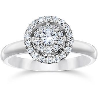 5/8 Karat Vintage Halo Diamant Verlobungsring 14K White Gold