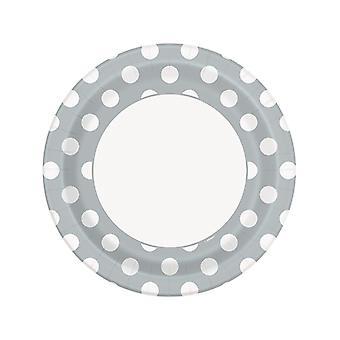 Silver Dot Plates 9�