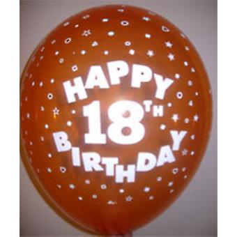 "Luftballons HAPPY 18TH BIRTHDAY Ass Farben 12"""
