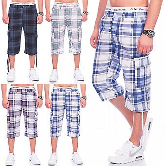 Mens Bermuda Shorts Cargo short pants stretch plaid cargoshorts summer casual