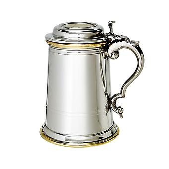 Celtic laiton Badge Pewter Tankard avec couvercle - 1 chopine