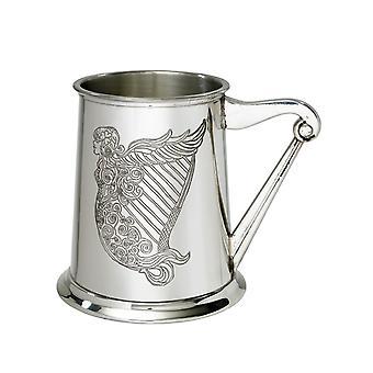 Ierse Harp reliëf Pewter Tankard - 1 pint