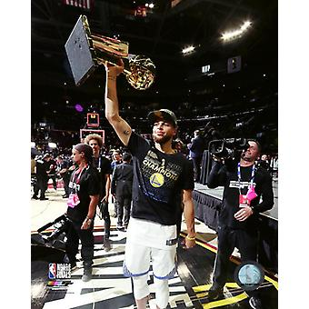 Stephen Curry with the 2018 NBA Championship Trophy Game 4 of the 2018 NBA Finals Photo Print