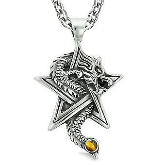 Mot Dragon magiske beskyttelse krefter Stjernen pentagram Amulet Tiger øye anheng 18 tommers halskjede