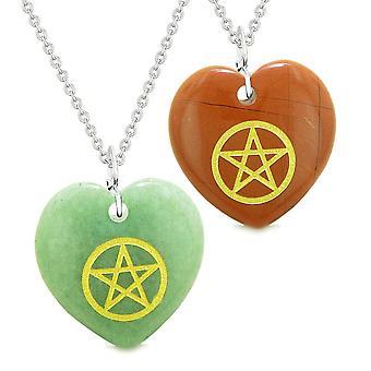 Amuletter magiske femtakkede energi kærlighed par eller bedste venner sæt grøn kvarts rød Jasper halskæder