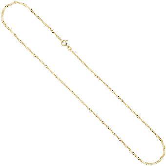 Singapurkette Halskette 333 Gelbgold 1,8 mm 50 cm Goldkette Federringverschluss