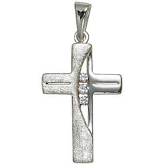 Anhänger Kreuz 925 Sterling Silber rhodiniert teileismatt 3 Zirkonia