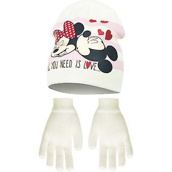 Disney Minnie Mouse Kinder Mädchen All You Need Is Love Mütze und Handschuhe Set