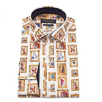 Guia Londres algodão Sateen Animal moldura imprimir Mens camisa