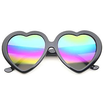 Naisten ylisuuret Rainbow värillinen peili linssi sydämen muotoinen aurinkolasit 55mm