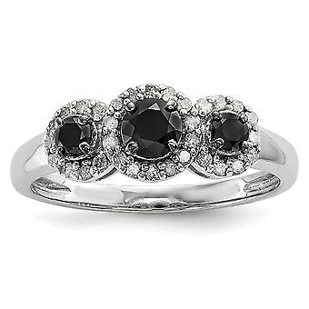 925 Sterling Silver Polished Prong set Black and White Diamond Ring Jewelry Gifts for Women - Ring Size: 6 to 8