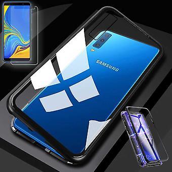 עבור Samsung Galaxy A7 A750F 2018 מגנט/מתכת/מקרה זכוכית במקרה שחור/שקוף + 0.26 mm H9 זכוכית קשה