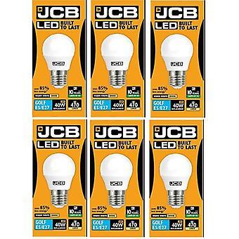 6 X JCB 6w LED Golf Ball ampoules Edison à vis E27, 40w ampoule incandescente équivalente, 470lm, blanc chaud 3000k, Non Dimmable, LED Edison vis Golf Ball ampoules, 220-240v [classe énergétique A +]