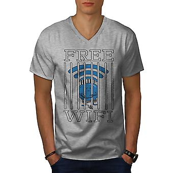 Camiseta cuello GreyV WiFi conexión cárcel los hombres | Wellcoda