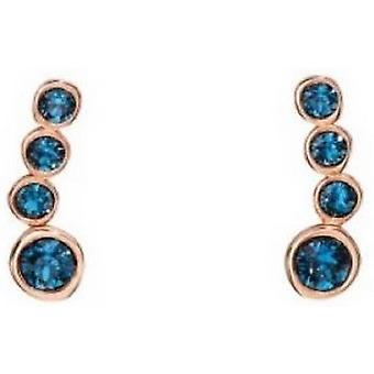 Elementen zilveren Crawler Swarovski oorbellen - Rose Gold/blauw