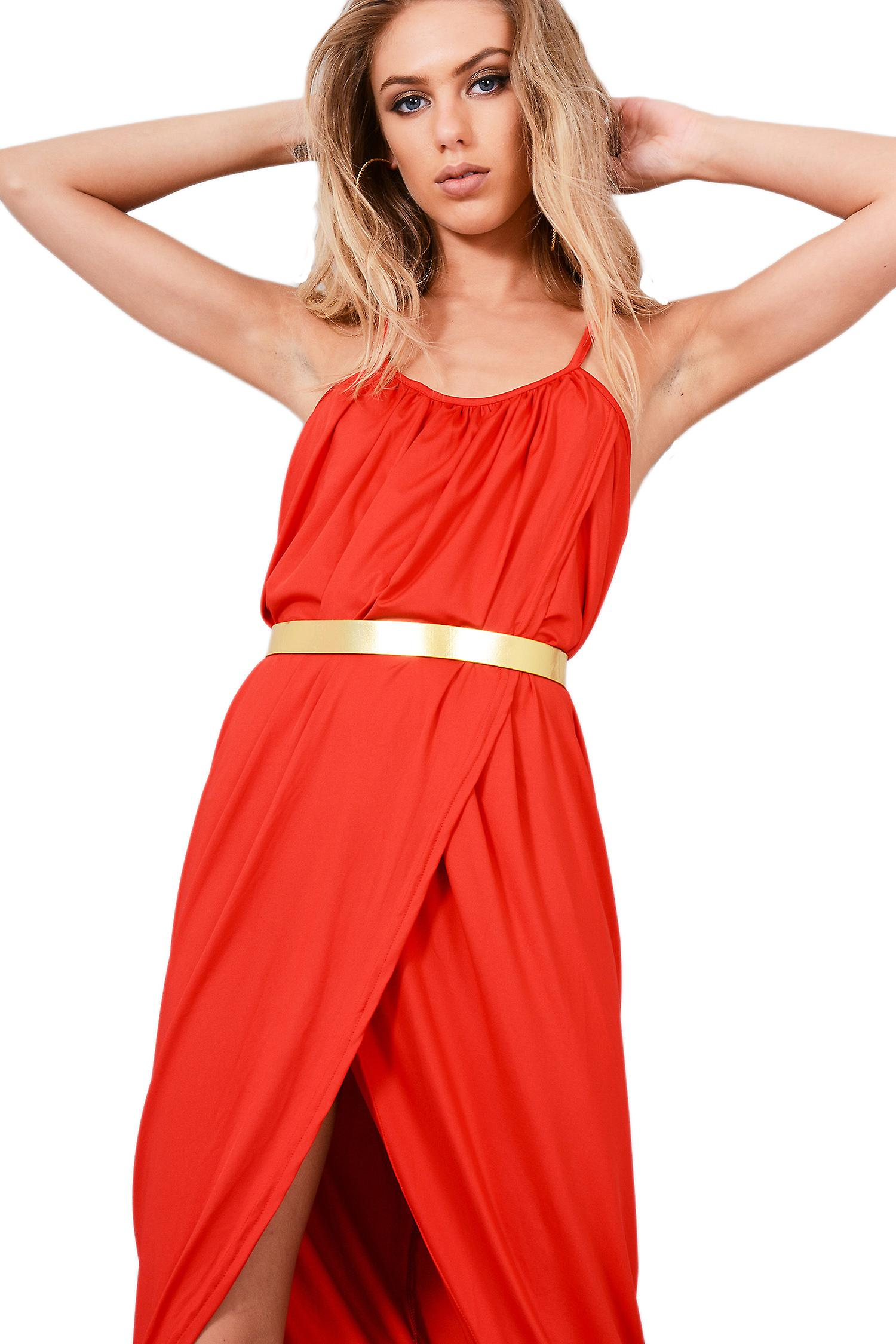 Lovemystyle Red Loose Fit Cami Wrap Dress With Gold Belt