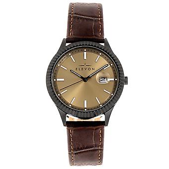 Elevon Concorde Leather-Band Watch w/Date - Black/Gold