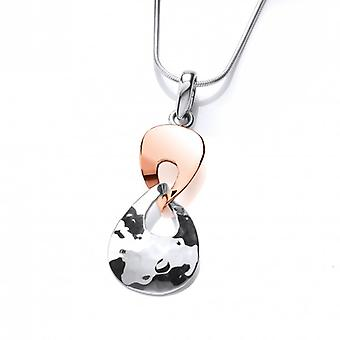 Cavendish French Sterling Silver and Copper Twist Pendant with Silver Chain Chain