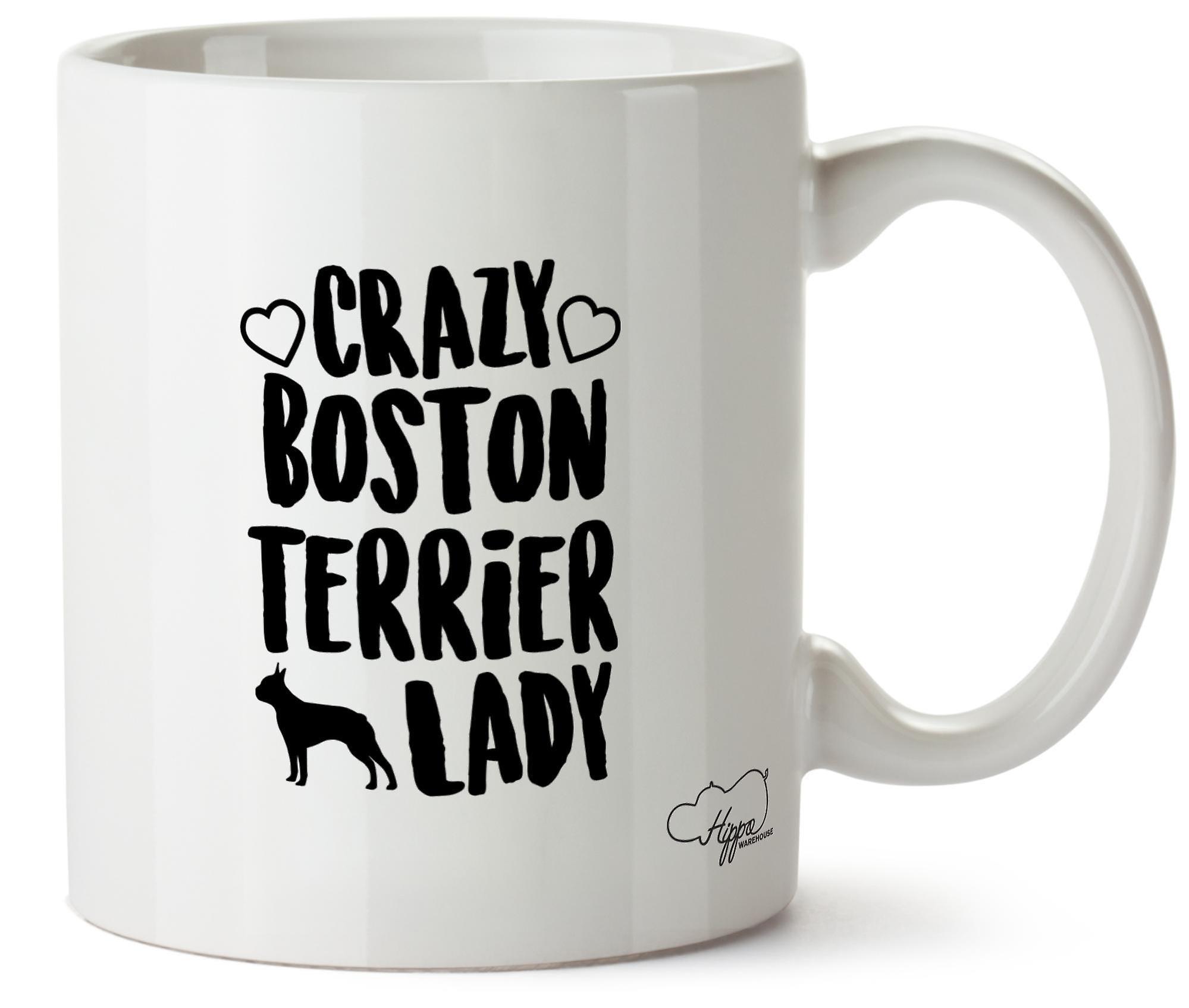 Бостон терьер Hippowarehouse Crazy леди собака напечатаны Кубка керамическая кружка 10oz