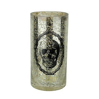 Silver Mercury Glass Skull Vase 8 in.