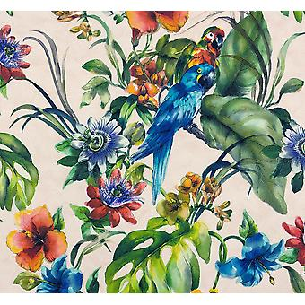 Exotic Bird Parrot Tropical Flowers Wallpaper Vinyl Floral Blue Green Off White