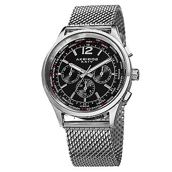 Akribos XXIV Men es AK716 Multifunktionstag Stainless Steel Mesh Watch AK716SSB