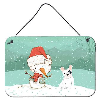 Piebald French Bulldog Snowman Christmas Wall or Door Hanging Prints