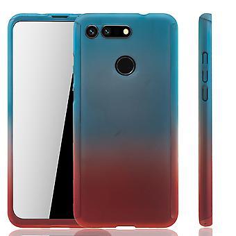 Huawei Honor View 20 Handy-Hülle Schutz-Case Full-Cover Panzer Schutz Glas Blau / Rot