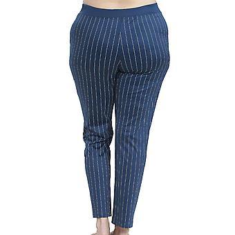Rosch 1194543-16504 Women's Curve Denim Blue Striped Cotton Pyjama Pant