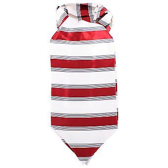 Knightsbridge Neckwear Striped Silk Cravat - Red/Cream