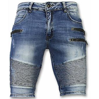 Shorts - Shorts Slim Fit Biker Zippers Shorts - Blue