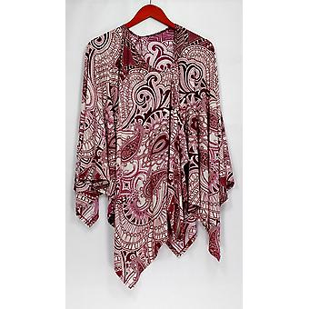 Attitudes by Renee Top Dolman Long Sleeve Printed Poncho Tunic Purple A273536