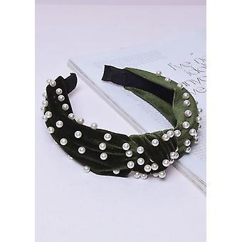 Fluweel Pearl knoop hoofdband groen