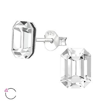 Emerald Shaped Crystal From Swarovski® - 925 Sterling Silver Ear Studs - W38404x