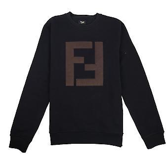 Fendi Leather FF logo camisola preto