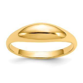 14 k Gelb Gold solide Rückenausschnitt nicht gravierbaren für Jungen oder Mädchen poliert Kuppelring - Größe 3