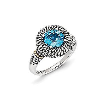 925 sterling silver med 14K antiqued ljus schweiziska blå Topaz Ring-Ring storlek: 7 till 8