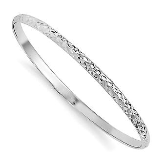 3.2mm 925 Sterling Silver Just Like Mommy Sparkle Cut Slip on for boys or girls Cuff Stackable Bangle Bracelet