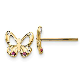 14k Gelb Gold Madi K Cubic Zirkonia für Jungen oder Mädchen Schmetterling Post Ohrringe
